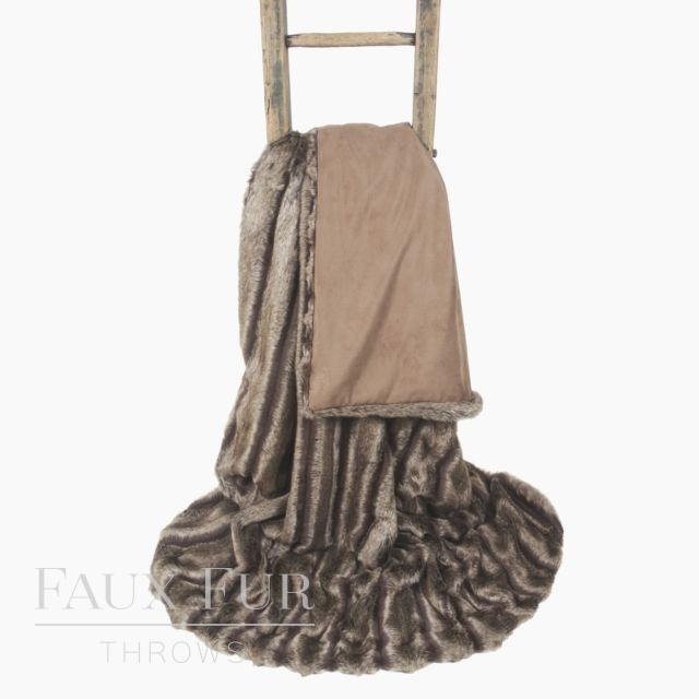 Faux Fur Throw: Brown Textured - BRECKENRIDGE
