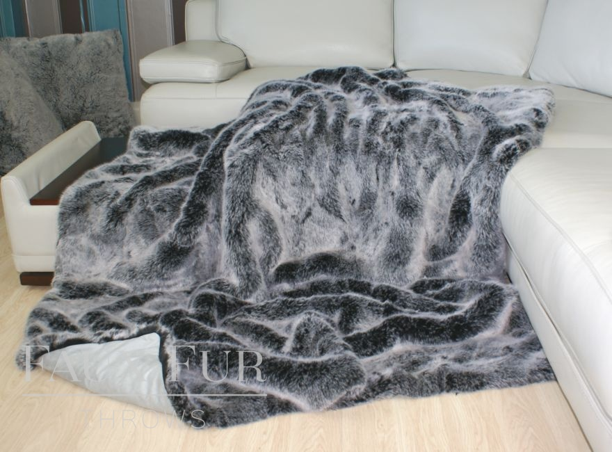 Charcoal Silver Frost Faux Fur Throw