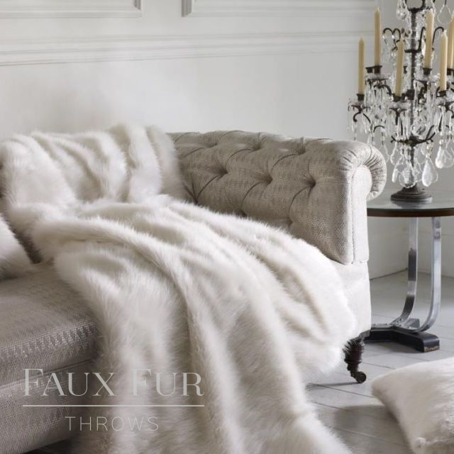 White Longhaired Faux Fur Throw – MONT BLANC