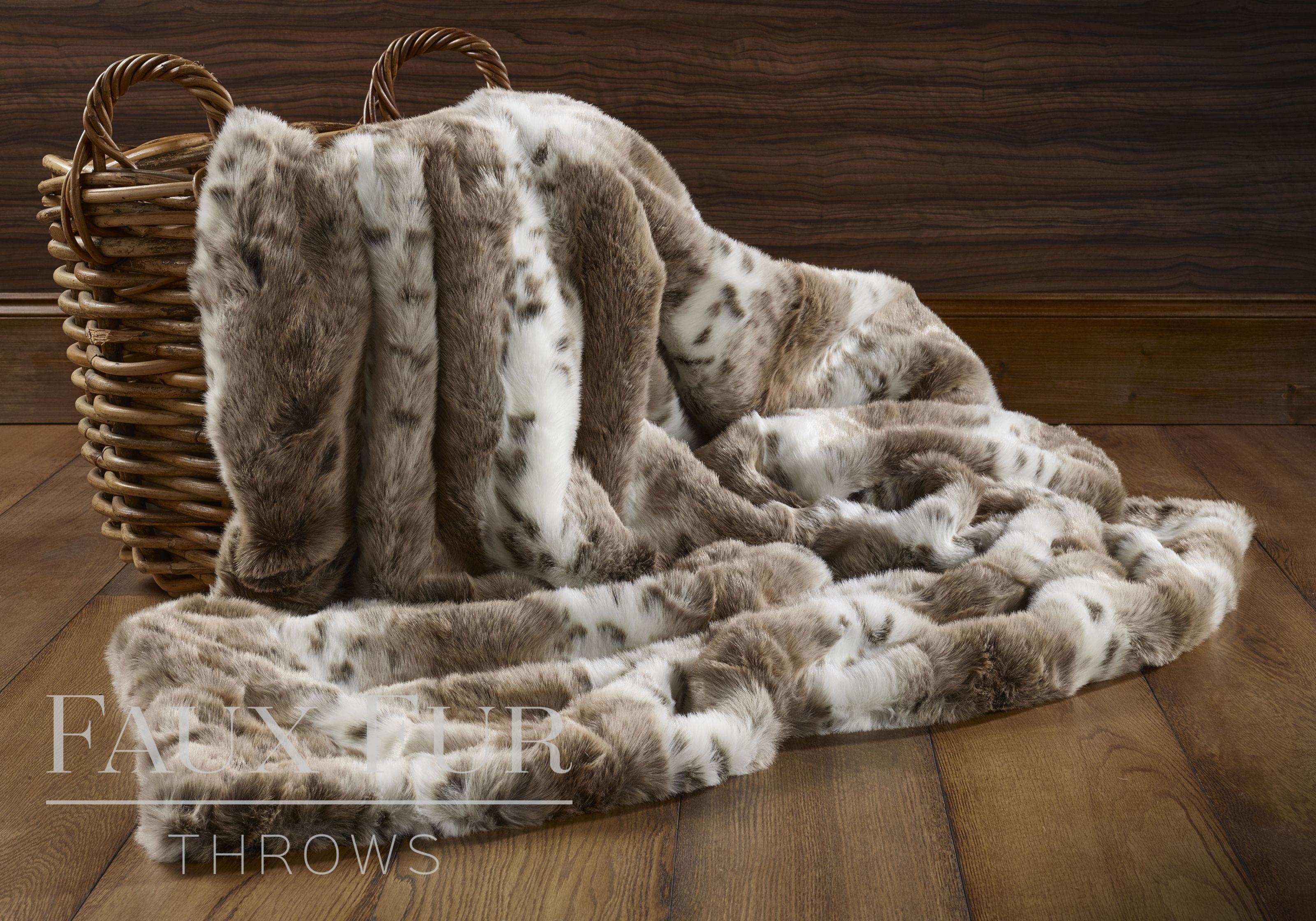 Brown White Striped Animal Faux Fur Throw – Sierra Nevada 67ed19ba9f3a9
