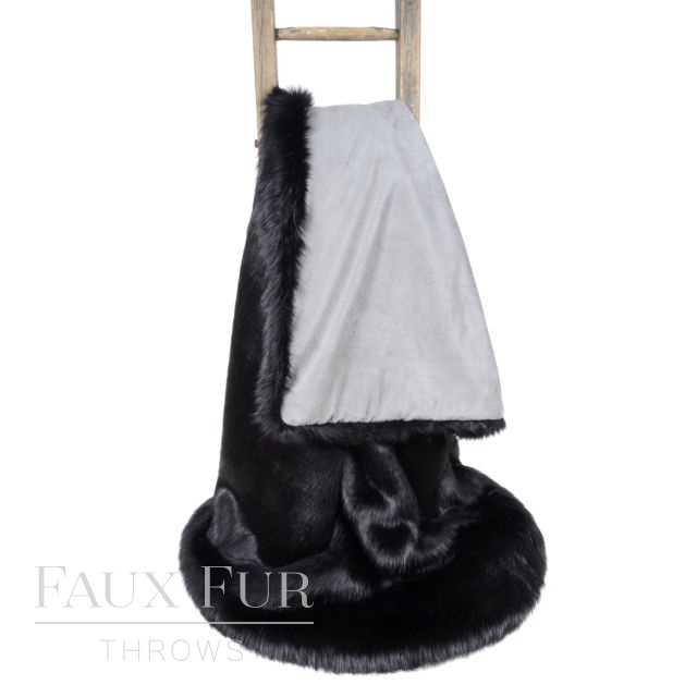 TWILIGHT Black Luxury Faux Fur Bed Runner