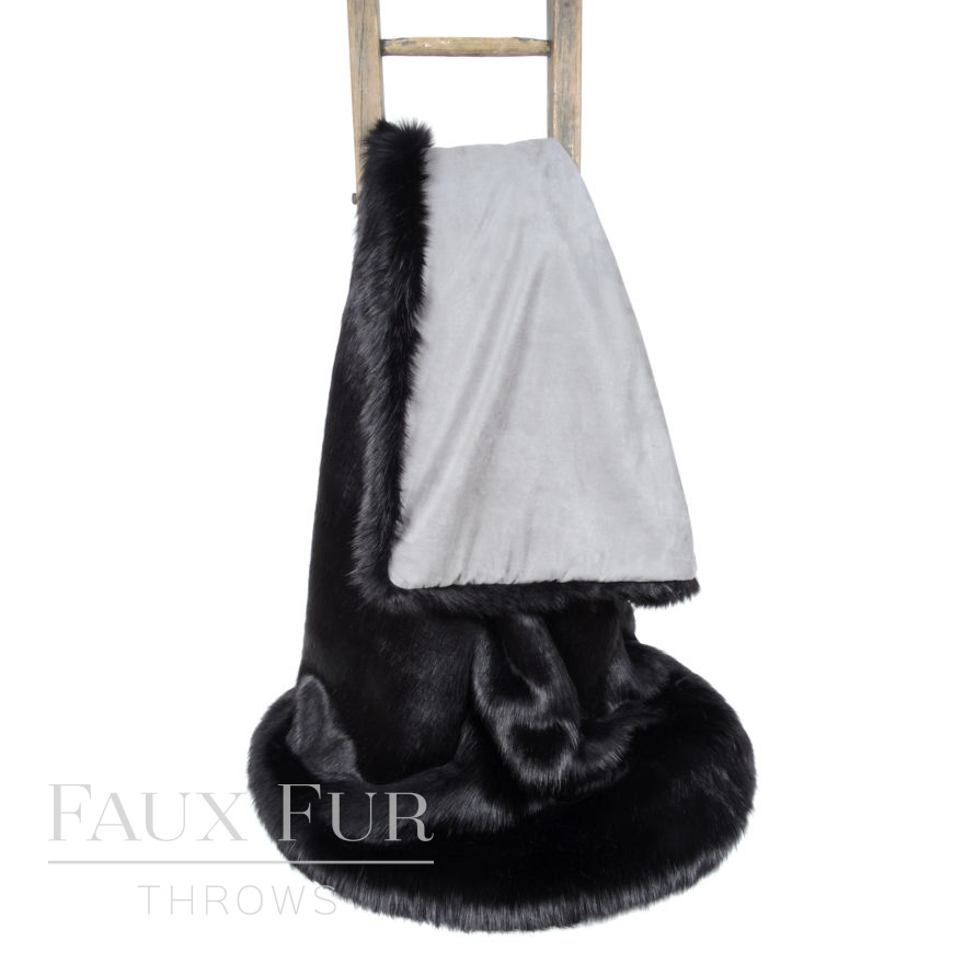 Twilight Black Luxury Faux Fur Throw