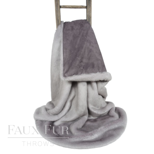 Grey Faux Fur Throw – WHISPER GREY