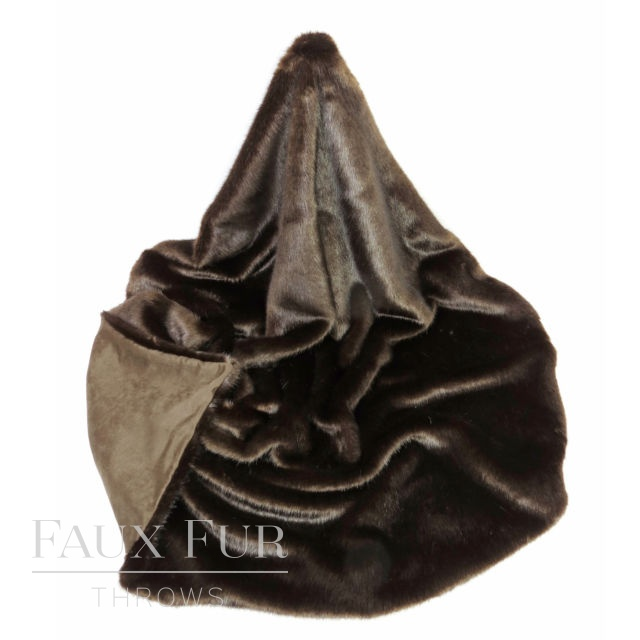 Faux Fur Throw: Brown  – BITTER DARK CHOCOLATE