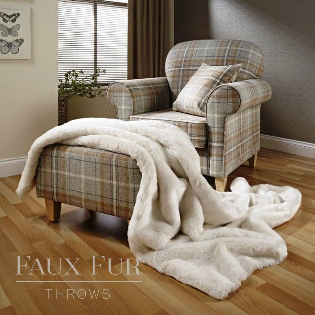 NORDIC CREAM PLUSH Faux Fur Bed Runner