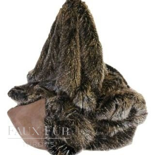 Brown Mammoth Luxury Longhaired Faux Fur Throw