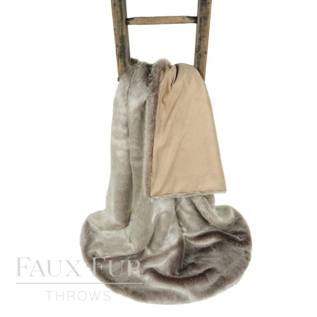 Faux Fur Throw: Brown Frosted – CREME CARAMEL