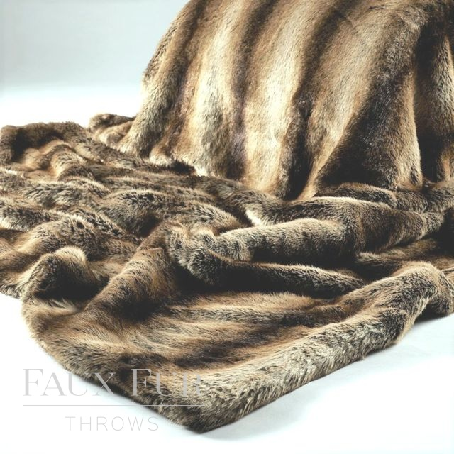 Brown Gold Faux Fur Throw – NEW CHAMONIX