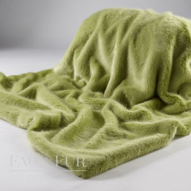 Faux Fur Throw:  Green – SPRING WILLOW