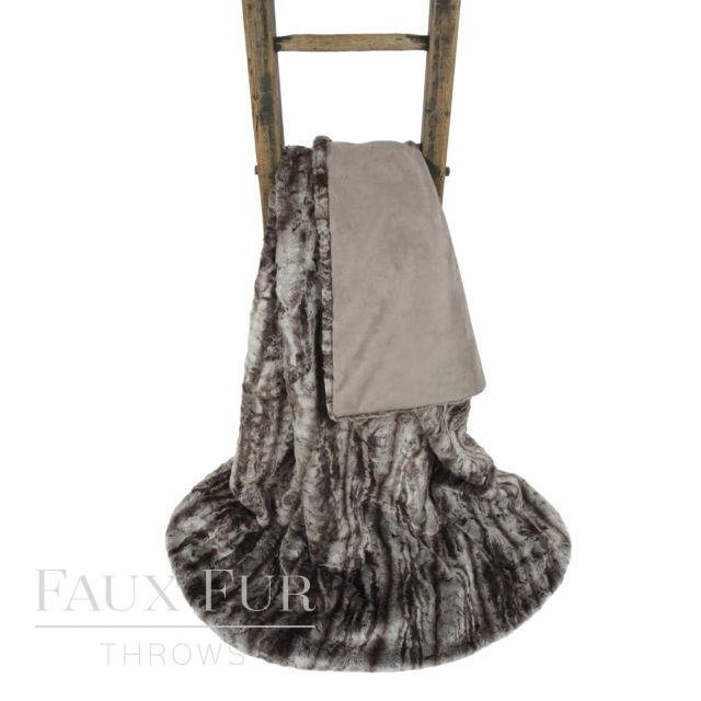 Grey Faux Fur Throw – SILVER ANDES