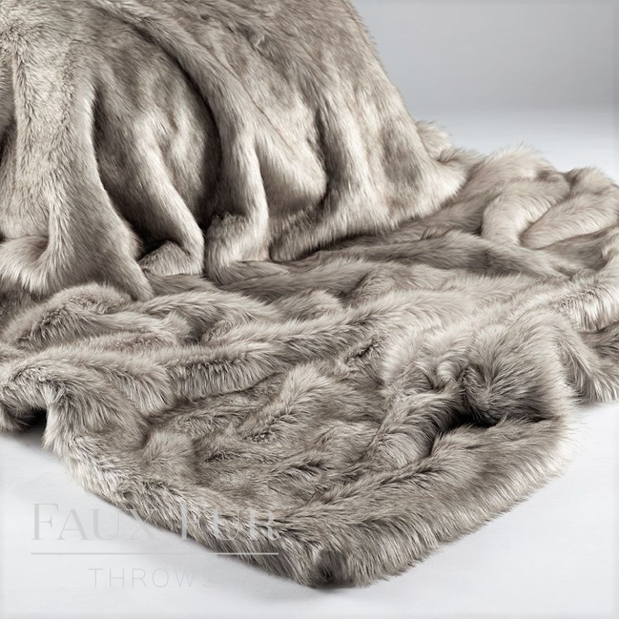 Silver-Brown Husky Faux Fur Throw