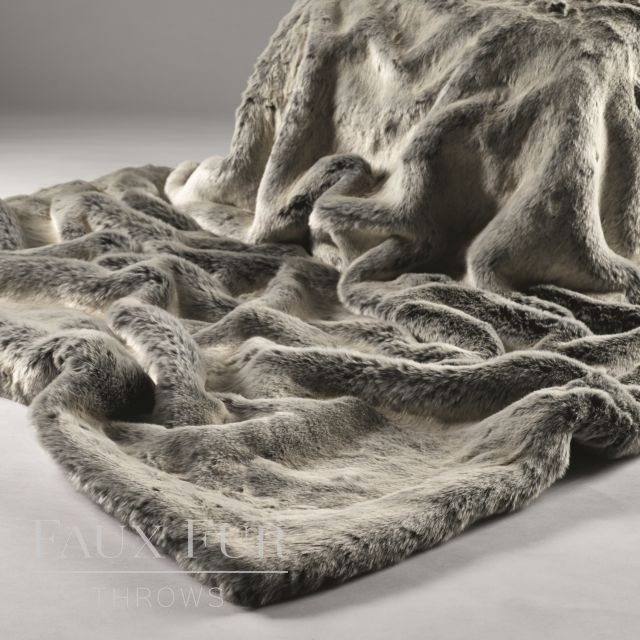 SILVER SHADOW Luxury Faux Fur Bed Runner