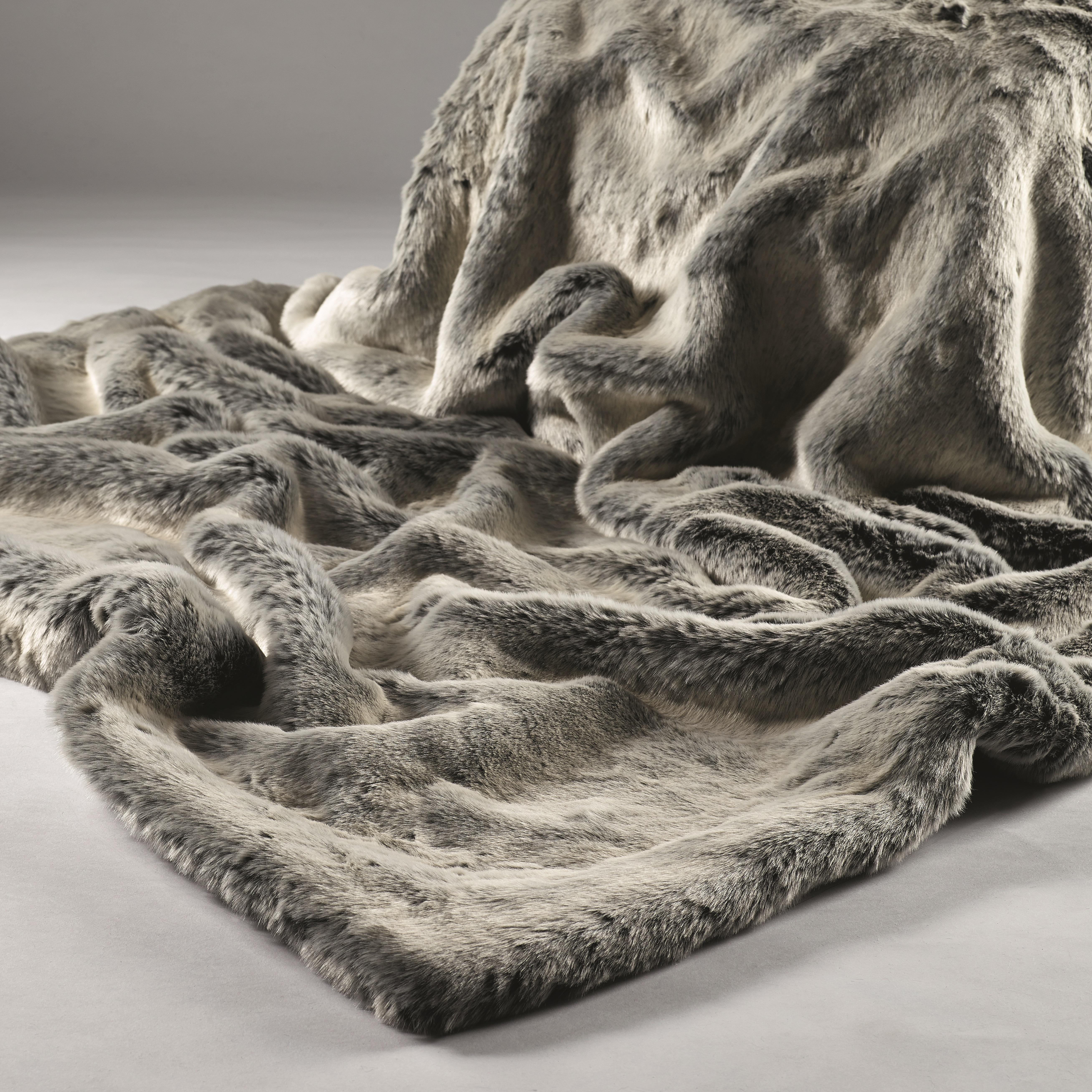 Grey Faux Fur Throw u2013 Silver Shadow