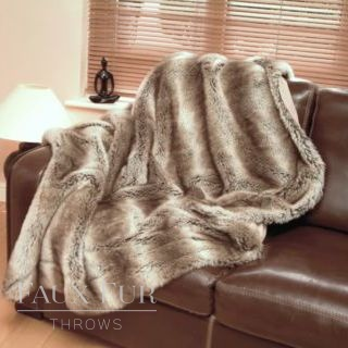 Brown Beige Faux Fur Throw – TUNDRA WOLF