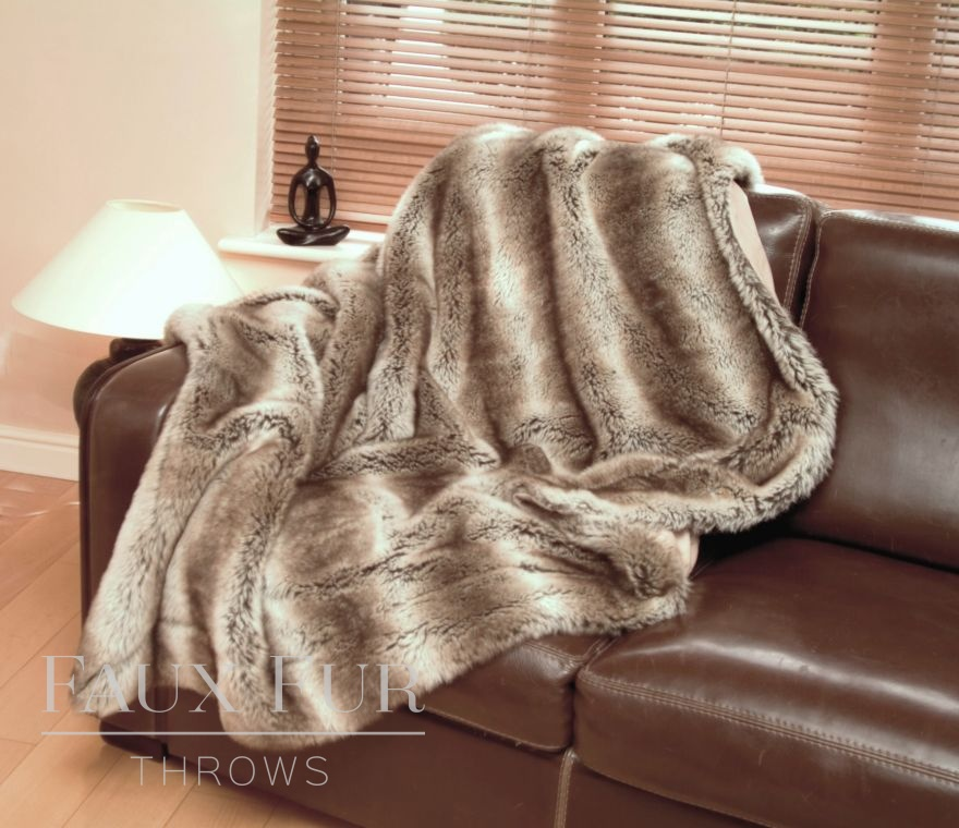 Tundra Wolf Luxury Faux Fur Throw
