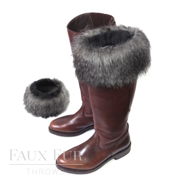 Faux Fur Boot Toppers (Pair) - Mountain Wolf by Helen Moore