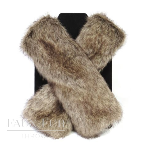 Faux Fur Scarf - Tippet Scarf - Truffle -new