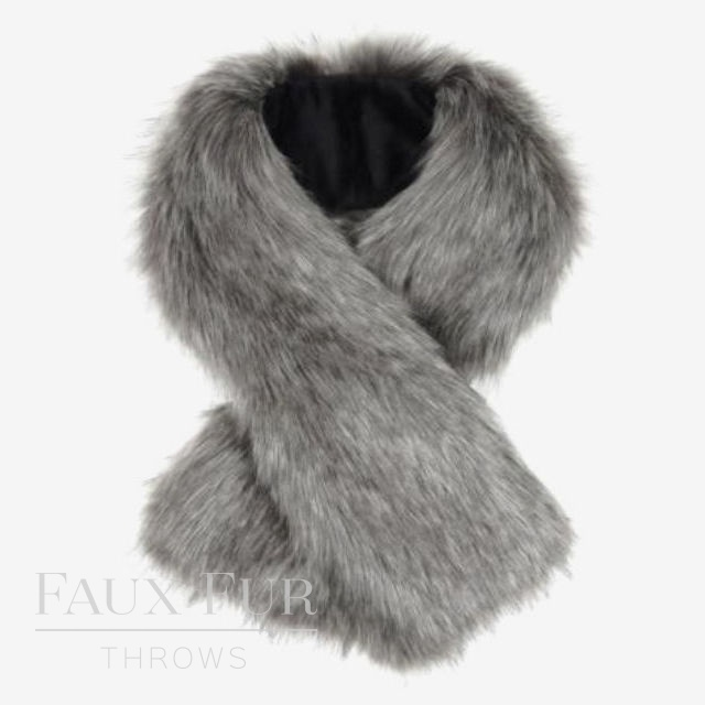 Faux Fur Scarf - Tippet Scarf - Lady Grey by Helen Moore