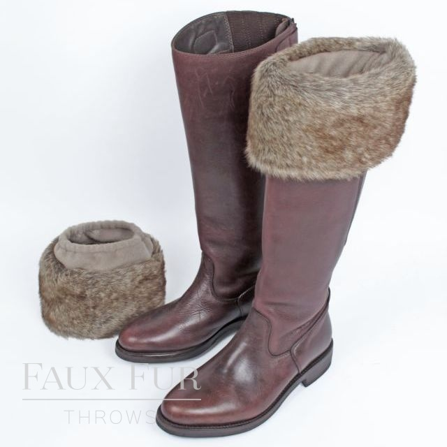 Faux Fur Boot Toppers (Pair) -Truffle by Helen Moore