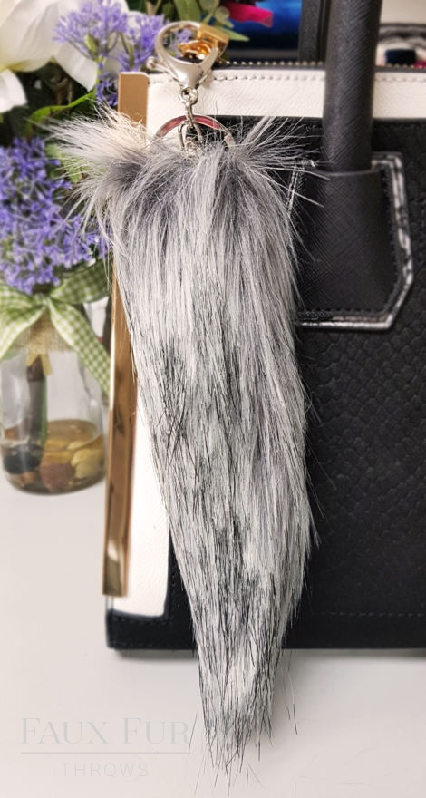 Arabian Grey Faux Fur Tails Keyring