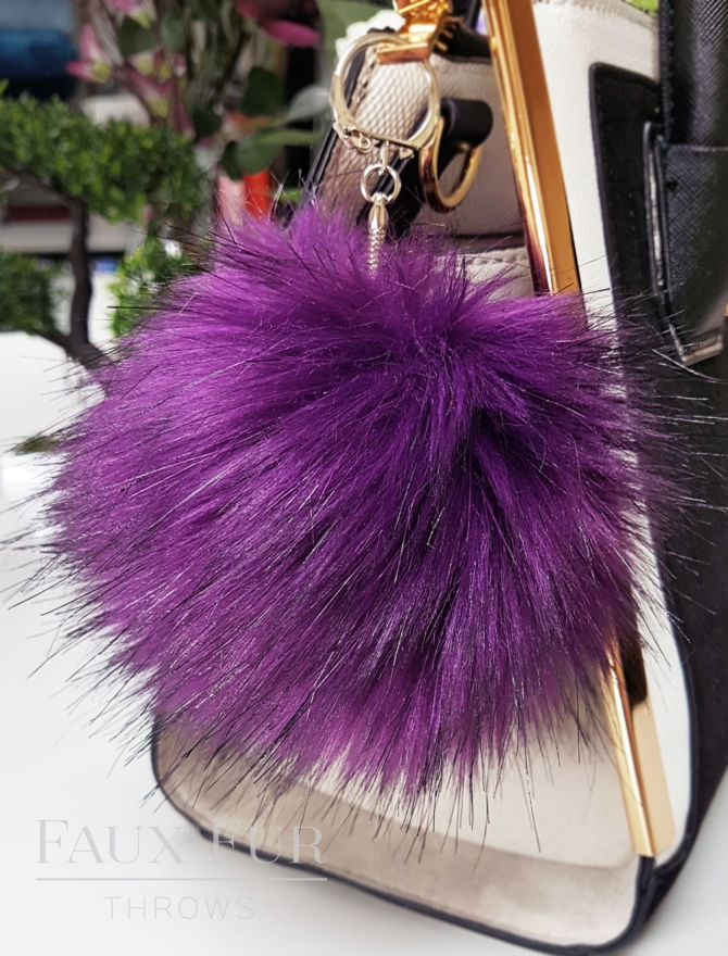 Royal Purple Faux Fur Pom Pom Keyring
