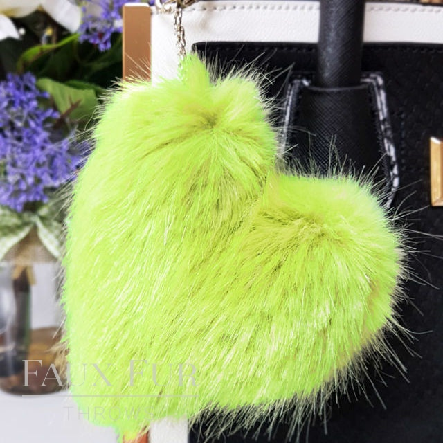 Willow Green Faux Fur Heart Shaped Keyring