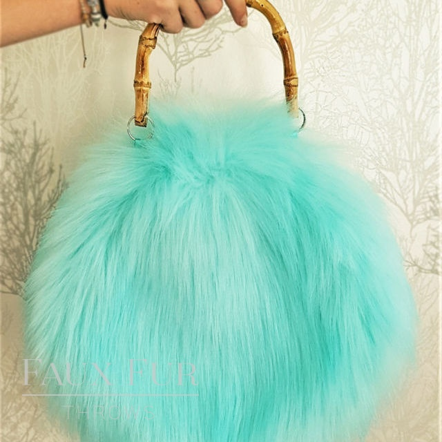 Turquoise Faux Fur Round Bag