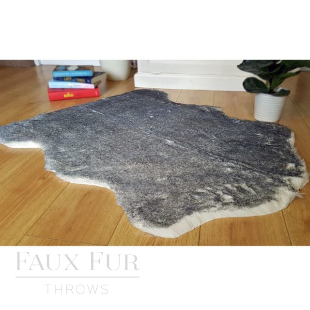 Black Tipped Fox Faux Fur Animal Skin Rug