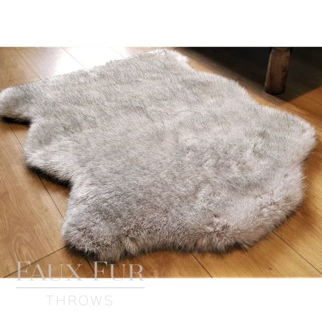 Tissavel Cream Faux Fur Animal Skin Rug