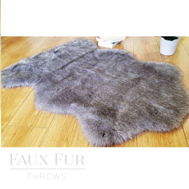 Tissavel Grey Faux Fur Animal Skin Rug