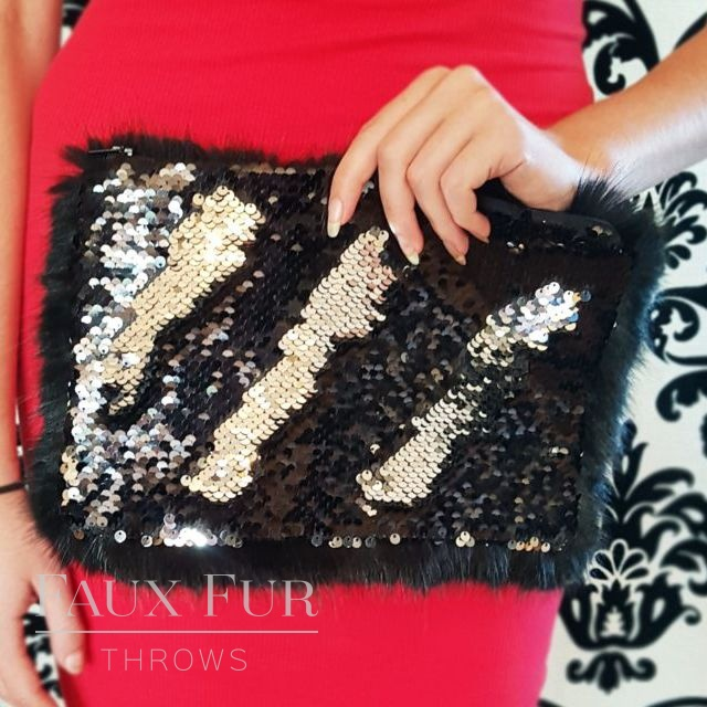 Black and Silver Faux Fur and Sequin Clutch Bag