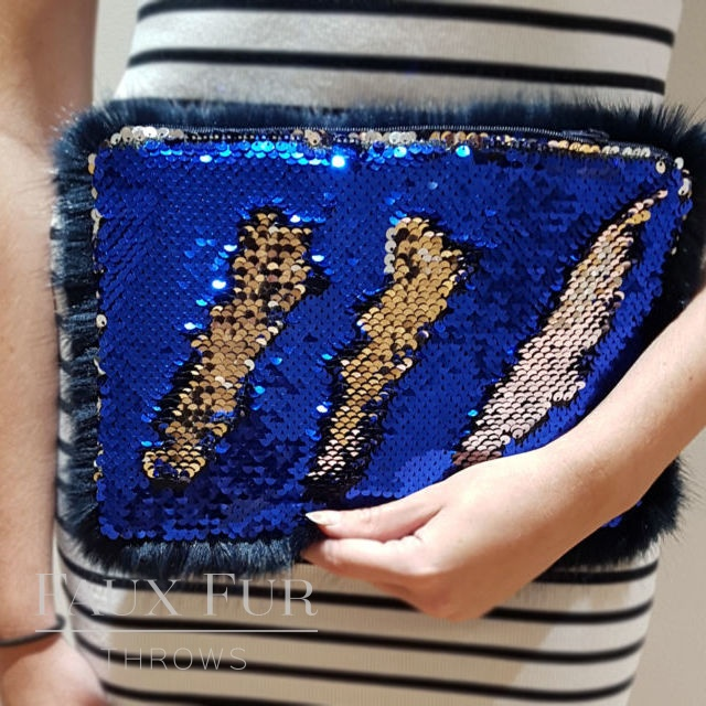 Blue and Silver Faux Fur and Sequin Clutch Bag