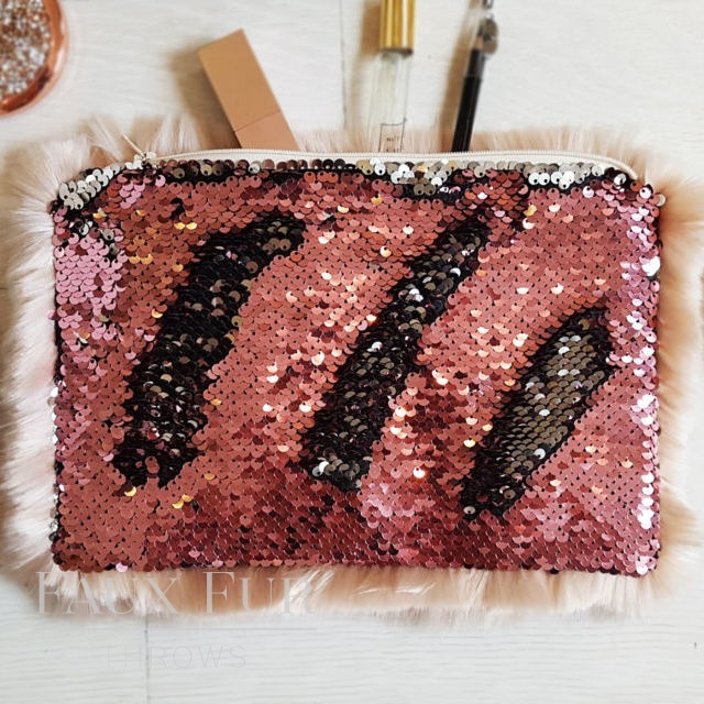 Blush and Silver Faux Fur and Sequin Clutch Bag