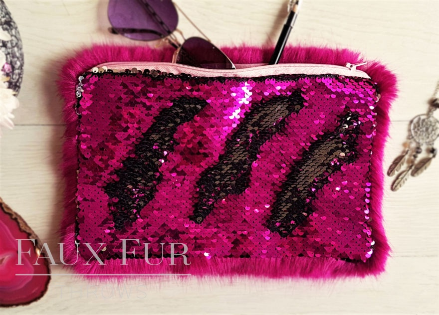 Hot Pink and Silver Faux Fur and Sequin Clutch Bag