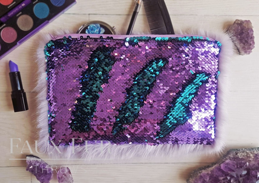 Lilac and Turquoise Faux Fur and Sequin Clutch Bag