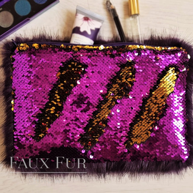 Purple and Gold Faux Fur and Sequin Clutch Bag