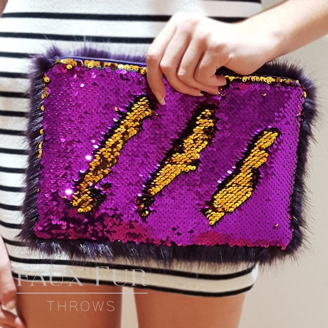 Sequin and Faux Fur Clutch Bags