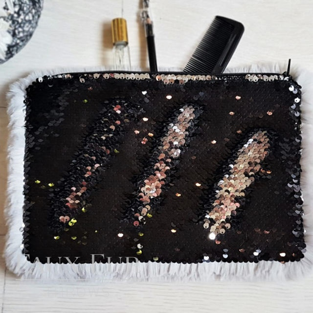 Silver and Black Faux Fur and Sequin Clutch Bag