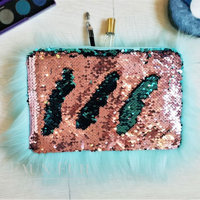 Turquoise and Pink Faux Fur and Sequin Clutch Bag
