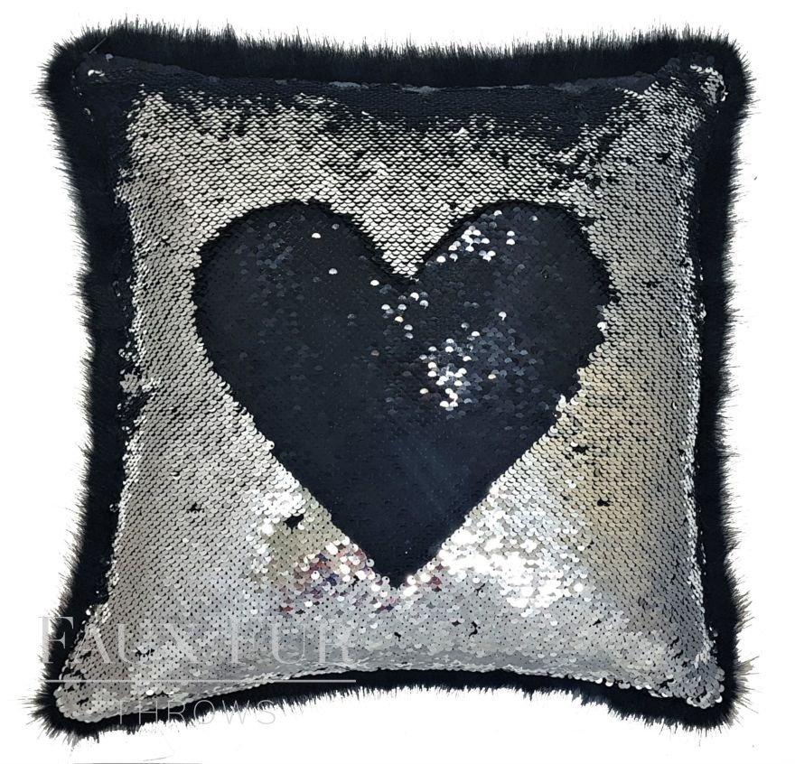 Black and Silver Faux Fur and Sequin Cushion