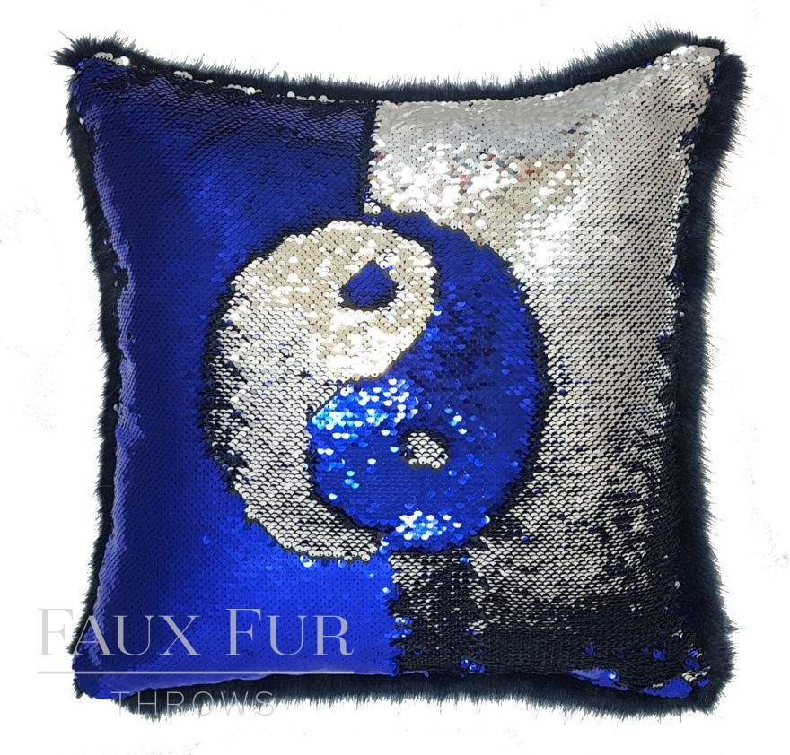 Blue and Silver Faux Fur and Sequin Cushion Yin Yang