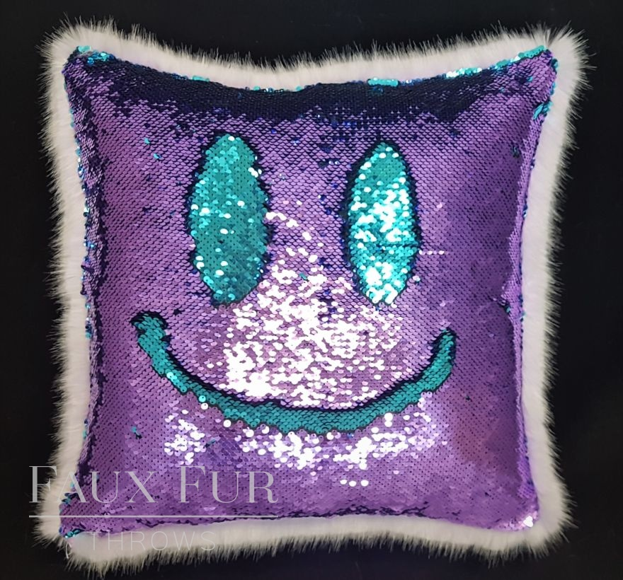 Lilac and Turquoise Faux Fur and Sequin Cushion