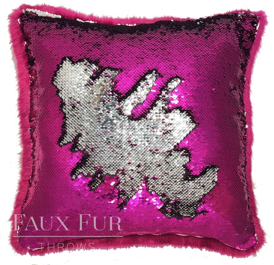 Magenta and Silver Faux Fur and Swipe Sequin Cushion