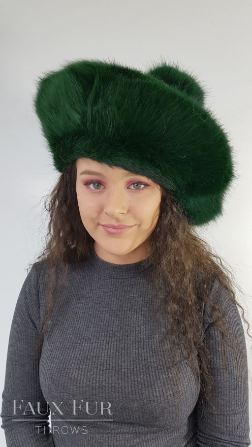 Forest Green Faux Fur Tam O Shanter Front