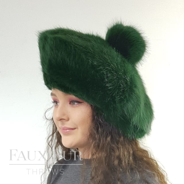 Forest Green Faux Fur Tam O' Shanter